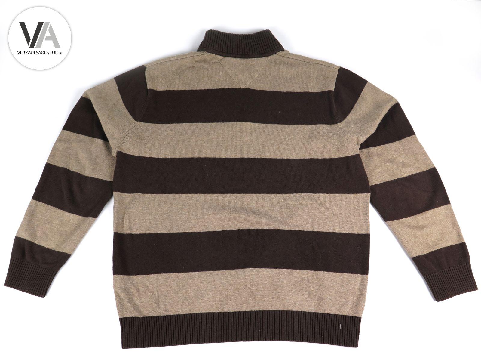 Details zu Tommy Hilfiger Herrenpullover Pulli Feinstrick Baumwolle braunbeige gestreift L